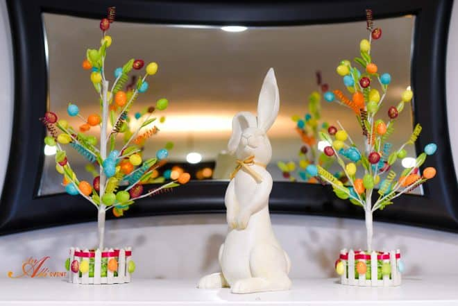 Whimsical Easter Mantle featuring bunny and Easter Egg Trees