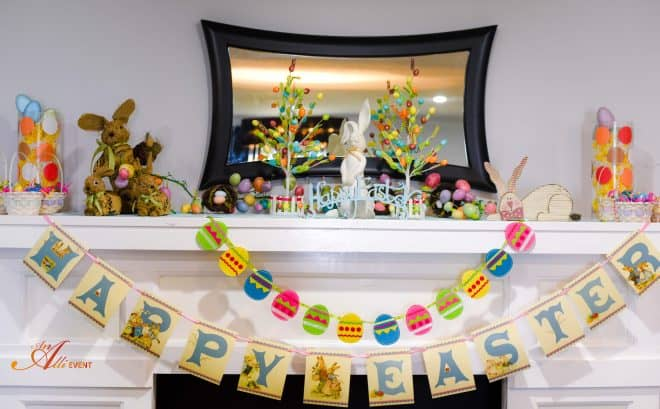 Whimsical Easter Mantel