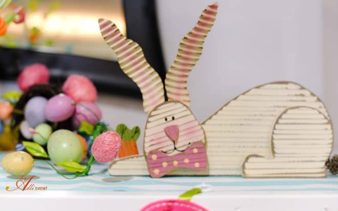Whimsical Easter Mantel filled with cute bunnies