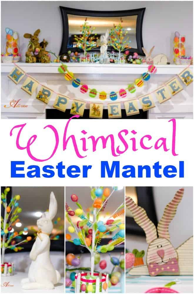 This Whimsical Easter Mantel Decor is quick, easy and inexpensive. The best part? The kids love it! #OrientalTrading #ad