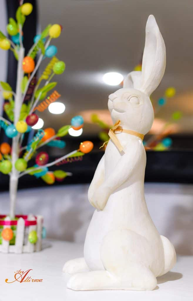 Easter Bunny is the centerpiece for my Whimsical Easter Mantle