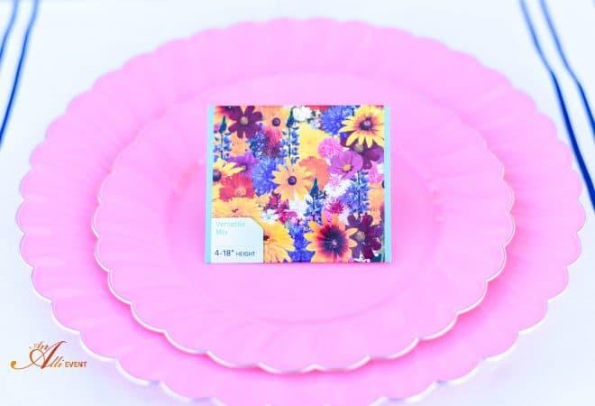 Packs of Flower Seeds and Chocolate Eclair Pie
