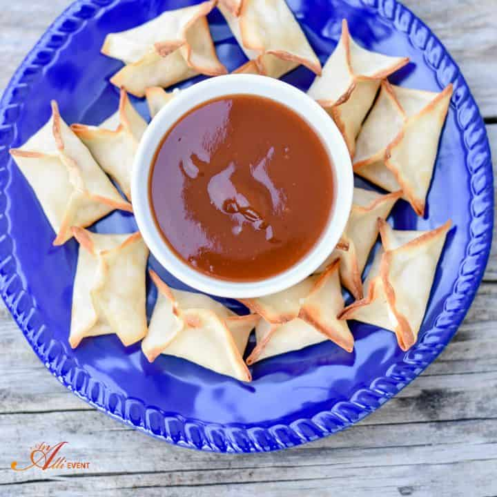 Pollock Rangoon Appetizers With Sweet and Sour Sauce