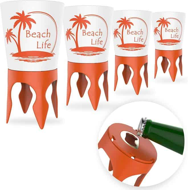 Last minute gift ideas for mom includes these cupholders that read life is a beach and have pointed spikes to stick in the sand