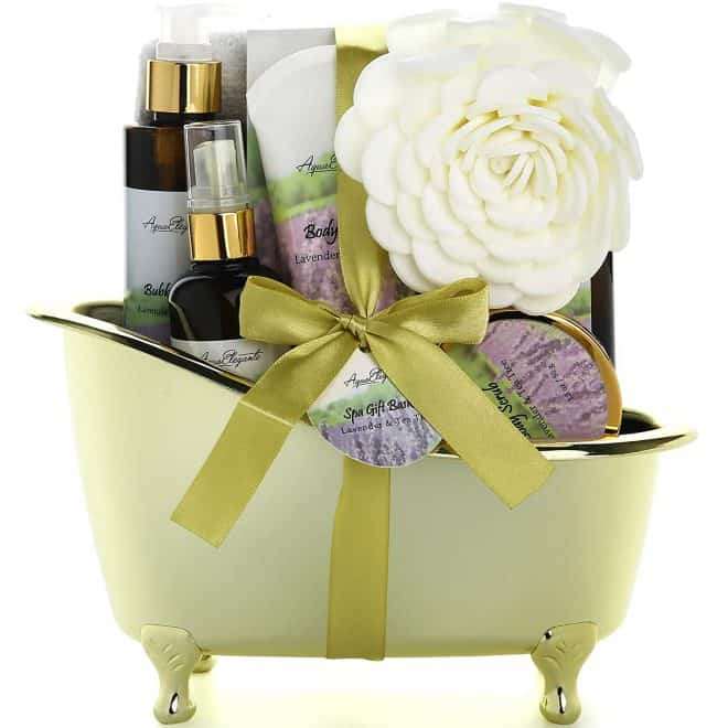 Spa Gift Basket in a Green Bathtub basket