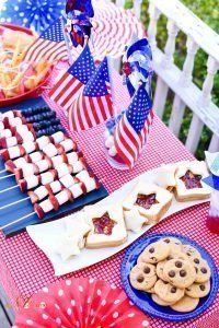 Overhead table view! Memorial Day Party featuring Chocolate Chip Peanut Butter Cookies