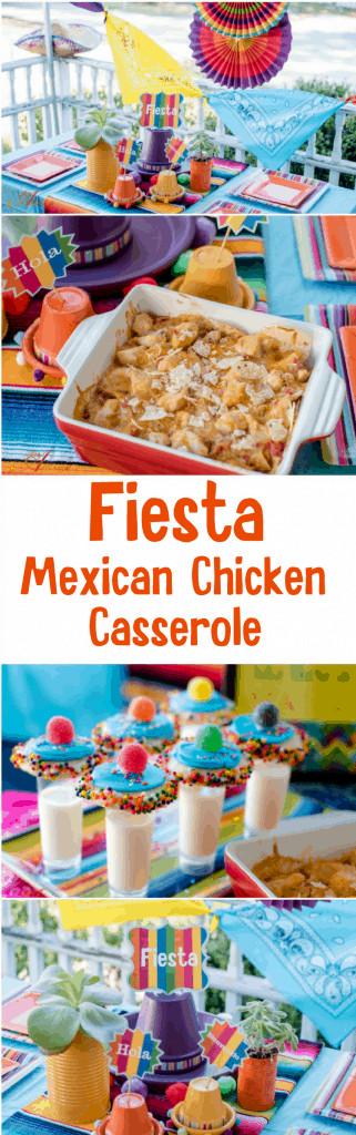 Let's have a Fiesta! Check out this step-by-step guide to hosting an easy breezy Fiesta. The deck or porch is the perfect spot for hosting a Fiesta. I've included an adorable DIY centerpiece, FREE printables, Mexican Chicken Casserole and Sombrero Sugar Cookies and Milk Shooters. What a fun fiesta!
