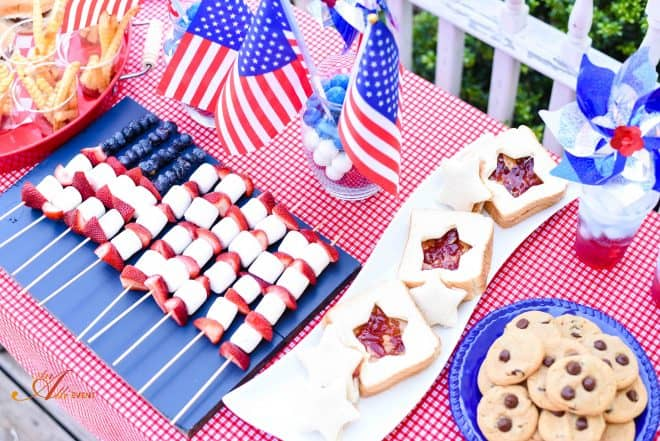 Chocolate Chip Peanut Butter Cookies and Patriotic Table