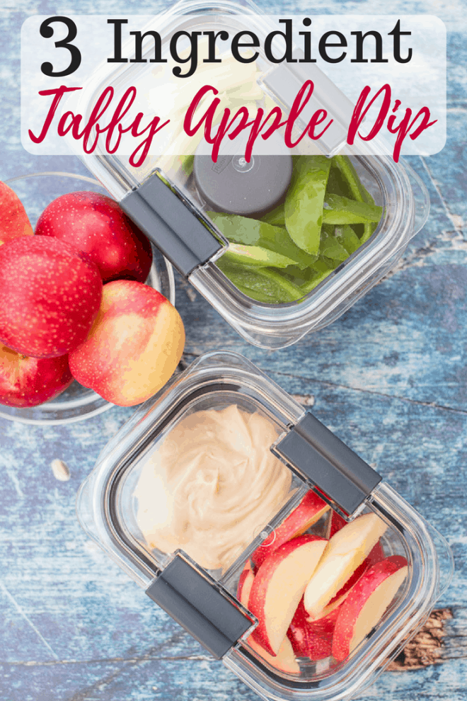 Are you looking for the perfect fall snack? My 3 Ingredient Taffy Apple Dip is delicious and perfect for fall! You probably have all the ingredients in the pantry! You would never guess that this creamy taffy apple dip is so simple to make.