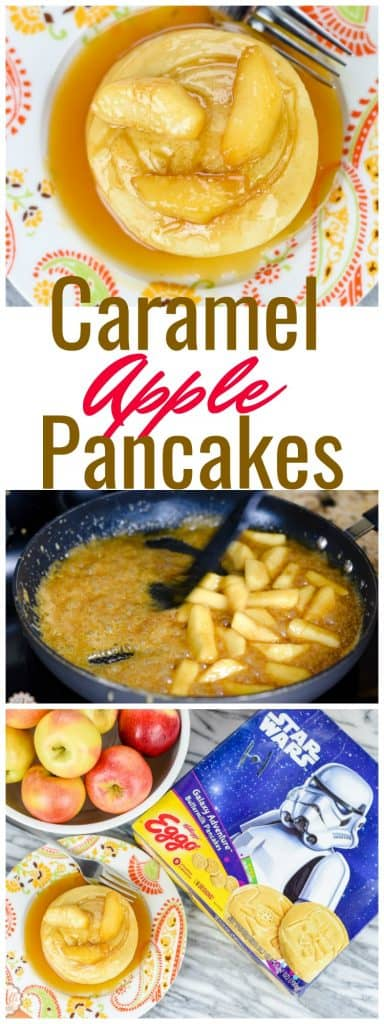 Looking for an afternoon snack for the kids? The Caramel Apple topping for these pancakes is delicious and so easy to make. Grab the kids and make these together. This is a snack the entire family will love. Pancakes are not just for breakfast anymore!