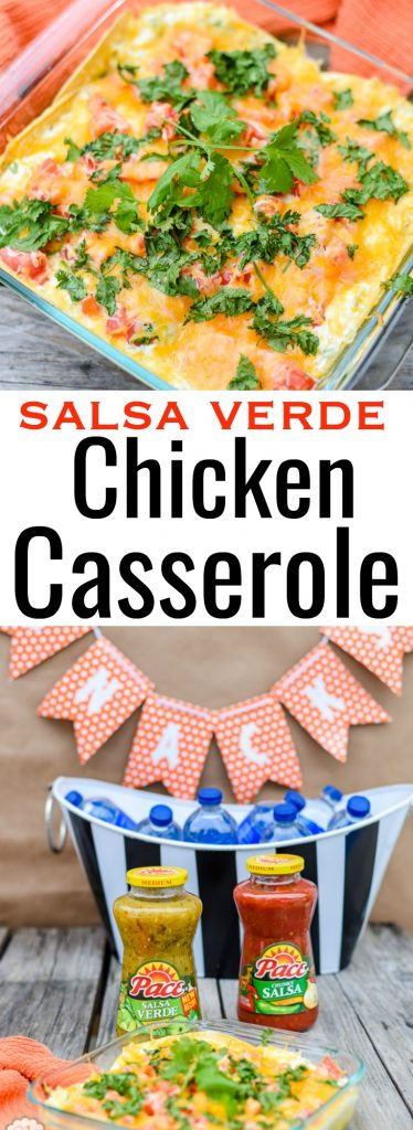 Looking for a delicious recipe for game day? My Salsa Verde Chicken Casserole is easy to make and is done in under 30 minutes. It's big, bold and delicious.