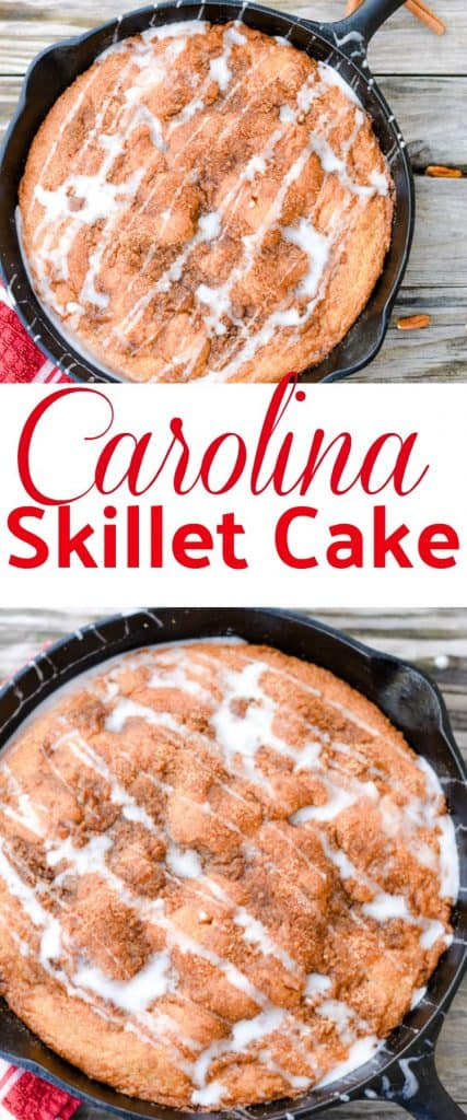 Carolina Skillet Cake is so easy to make. You will want to pull out your cast iron skillet and make this today. The cinnamon crumb topping is sprinkled on the top and poked into the cake. Serve warm with a drizzle of powdered sugar glaze. Yum!