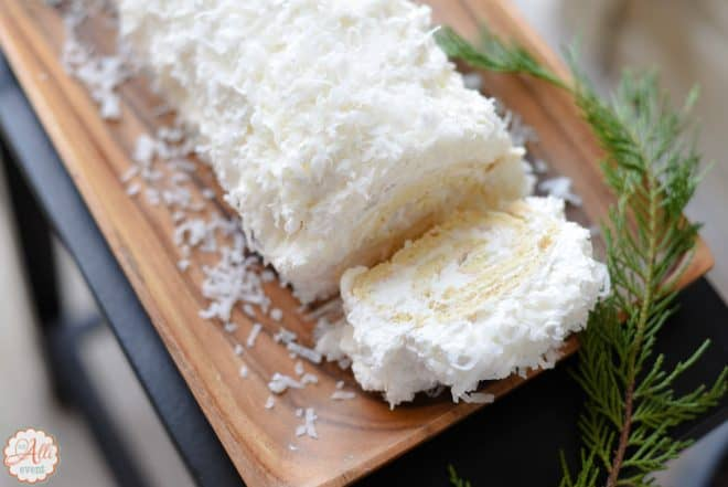 Coconut Cake Roll is a family favorite - Festive White Cake