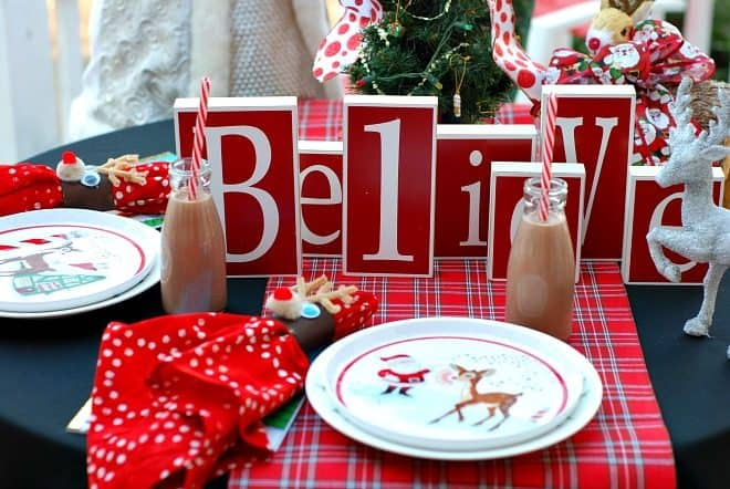 LED Christmas Lights and Rudolf the Reindeer Tablescape