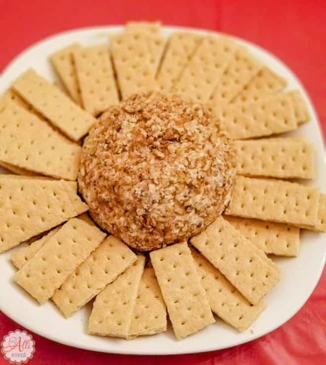 Chocolate Chip Cheese Ball and Graham Crackers