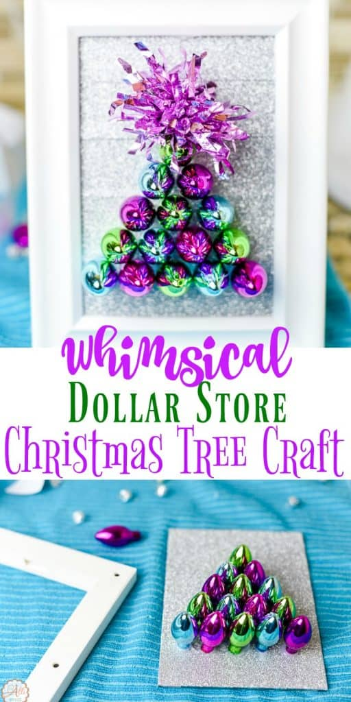 I added this Whimsical Dollar Store Christmas Tree Craft to a shelf in my bathroom. It brings a festive touch to the bathroom without breaking the bank. The entire project costs under $10.00. You can also use traditional Christmas colors to match your style.
