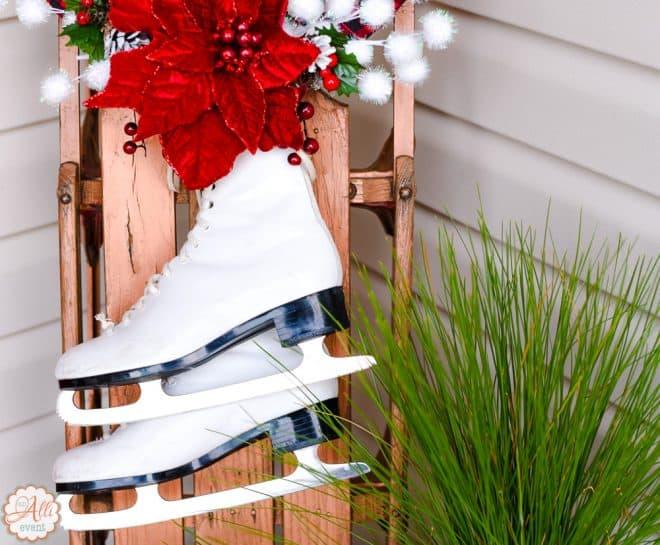 Skates for the Sled - Christmas Porch Decor