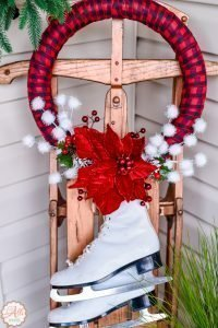 Front Porch Christmas Decor including my DIY Wreath and Sled