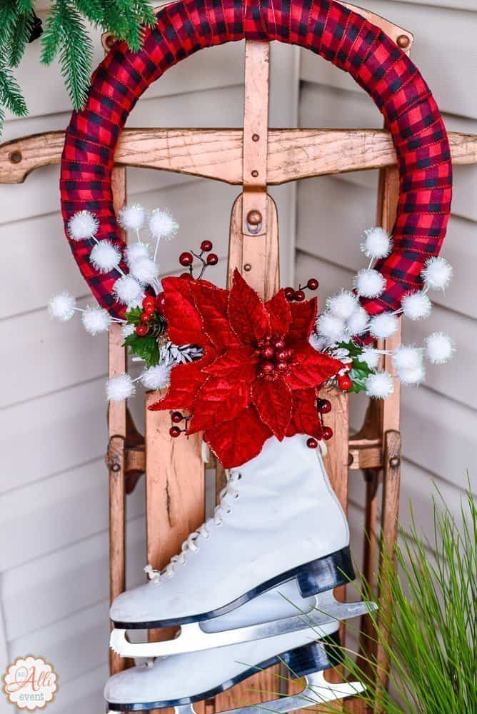 christmas porch decor including my diy wreath and sled
