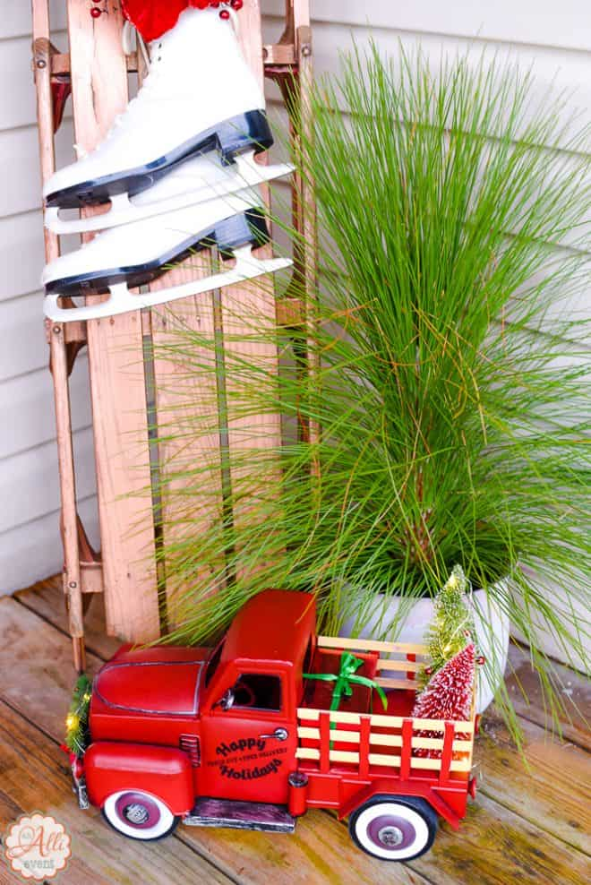 Front Porch Christmas Decor including vintage truck