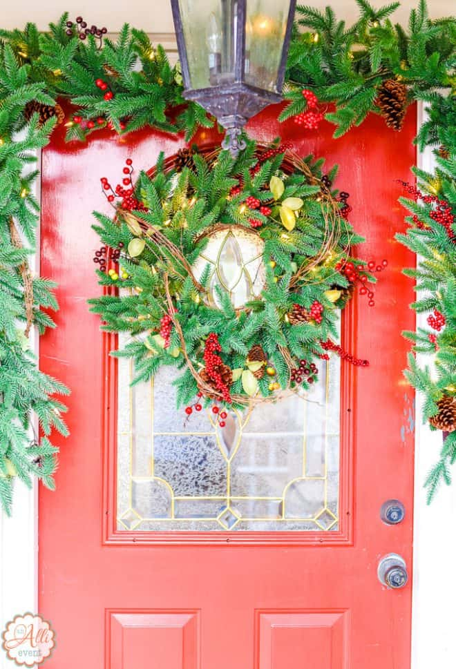Lighted Garland and Front Door Wreath