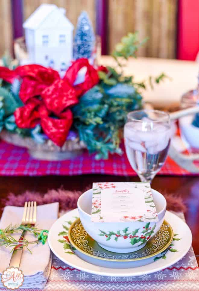 Place Setting featuring Rosemary and Easy Wonderland Holiday Table