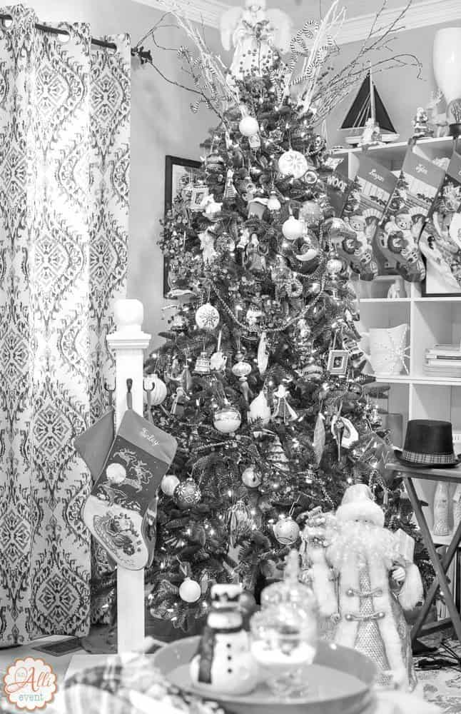 Black and White Photo of Tree - Lighted Garland