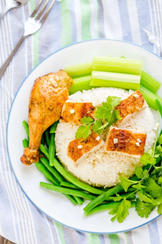 Easy Roasted Chicken with butter and garlic is delicious.