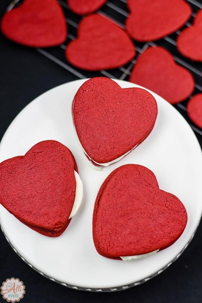 Red Velvet Heart Shaped Cookies