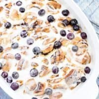 Delicious Lemon Blueberry Cinnamon Roll Bake
