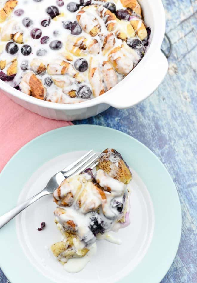 Lemon Blueberry Cinnamon Roll Bake