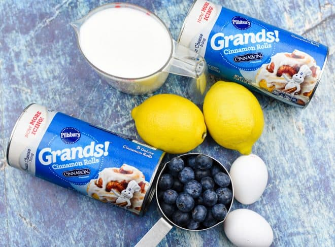 Ingredients for Lemon Blueberry Cinnamon Roll Bake
