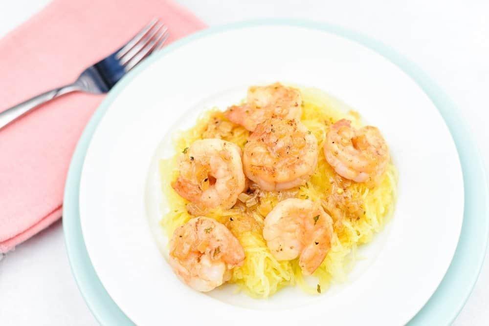 Lightened Up Shrimp Scampi Over Spaghetti Squash