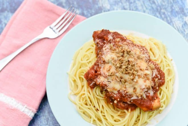 Top Slow Cooker Chicken Parmesan with Breadcrumbs