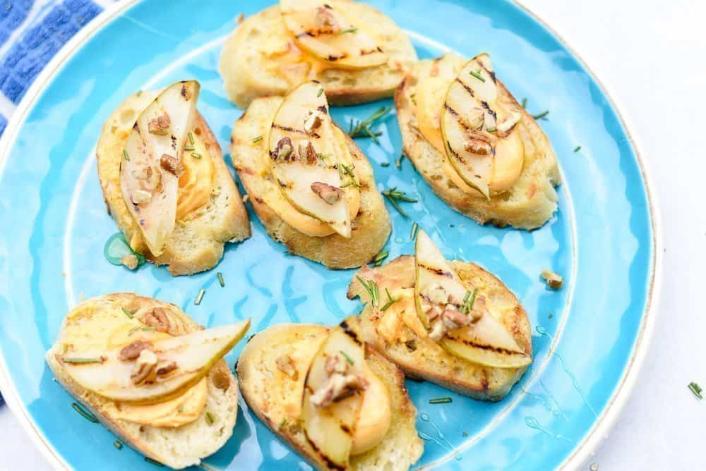 Sharp Cheddar and Grilled Pear Crostini