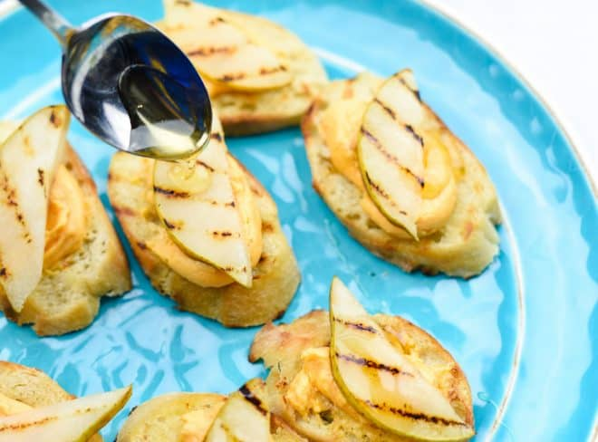 Honey Topped Grilled Pear Crostini