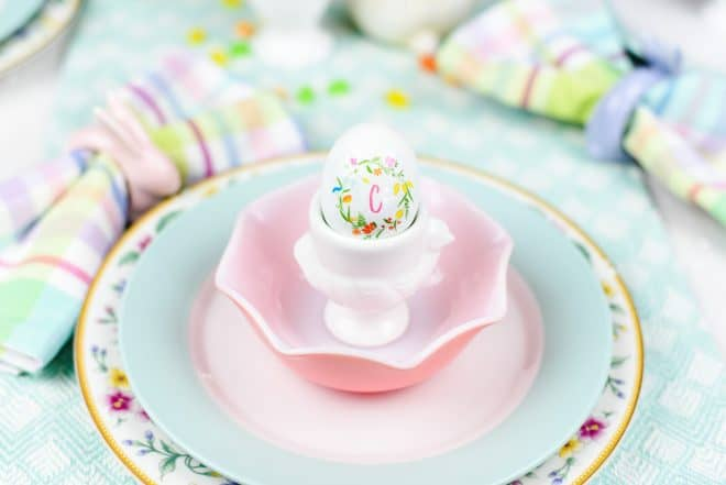 How to Monogram an Egg - Easy Pastel Spring Tablescape