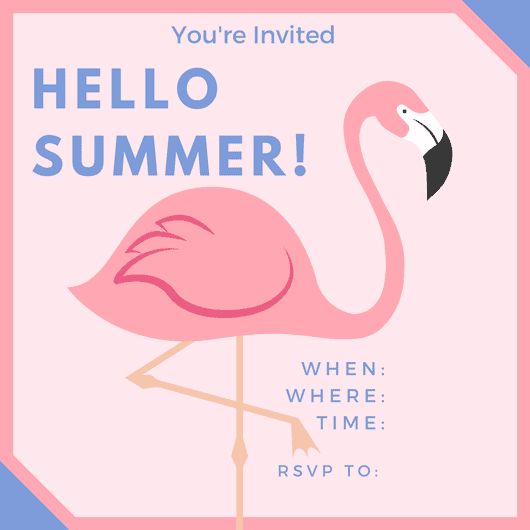 Hello Summer Party Invites and Flamingo Cupcakes