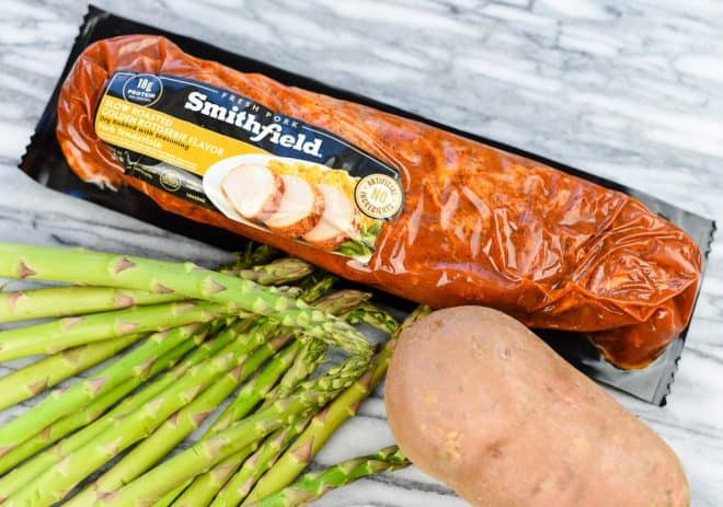 One Pan Pork Tenderloin Dinner with Sweet Potatoes and Asparagus