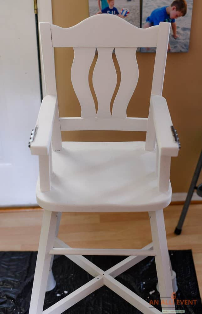 High Chair Makeover Using Chalk Paint - After two coats