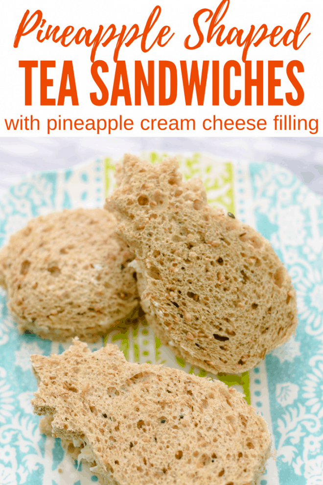 Pineapple-Shaped Tea Sandwiches with Pineapple Cream Cheese Filling