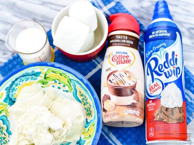 Ingredients to Make Toasted Marshmallow Mocha Milkshake