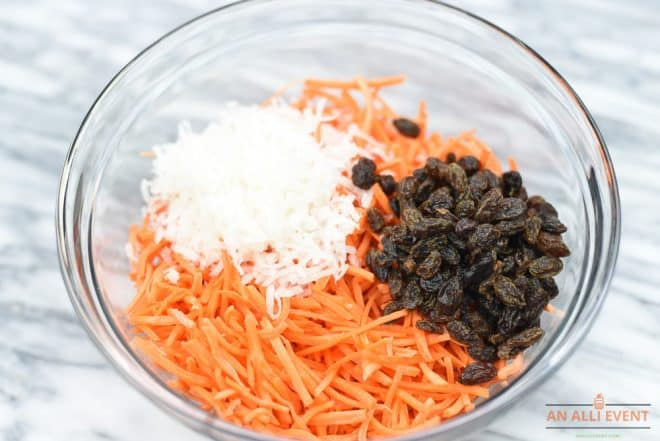 Coconut Carrot Salad is the perfect side dish for Meatless Monday