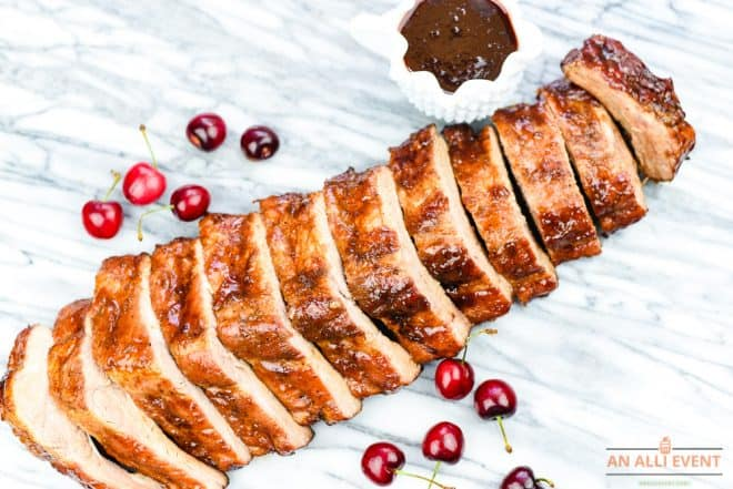 Close Up of Cherry-Apple-Glazed-Grilled-Ribs