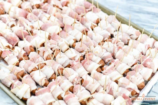 Bacon Wrapped Smokies ready to go in the oven