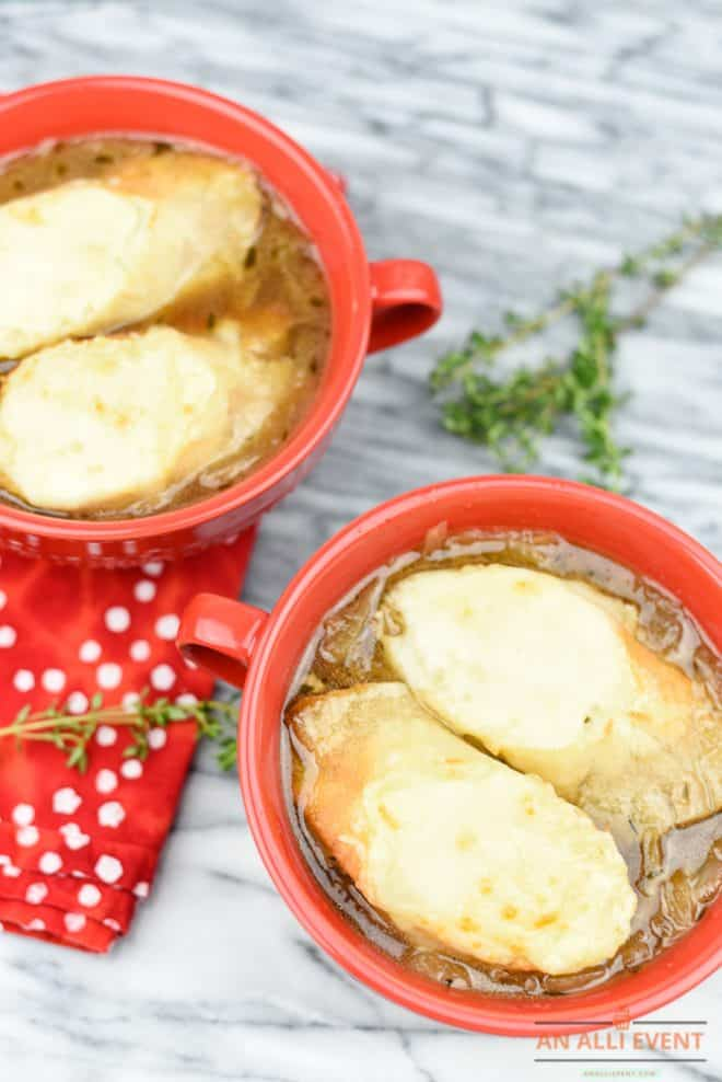 Bowls of Cheesy French Onion Soup