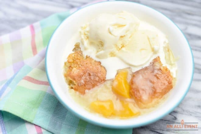 Bowl of Mama's Southern Peach Cobbler