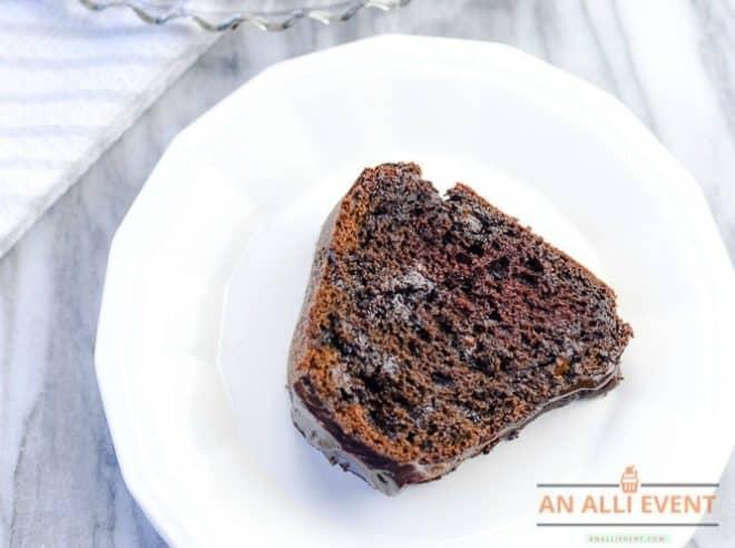 Slice of Triple Chocolate Bundt Cake