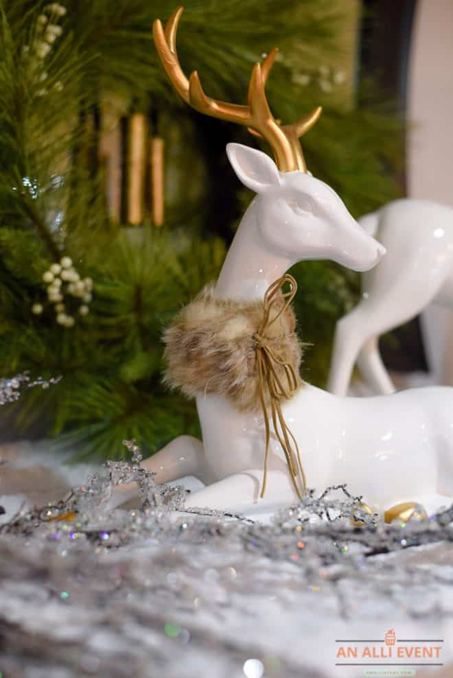 Christmas Mantel Decor Including Deer and Icy Garland