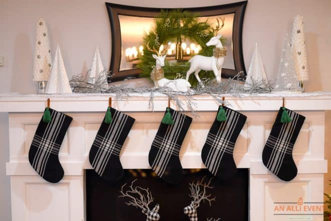 Black and White Christmas Mantel Decor